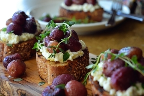 ... Roasted Grapes layered over the Ricotta cheese beautifully scented