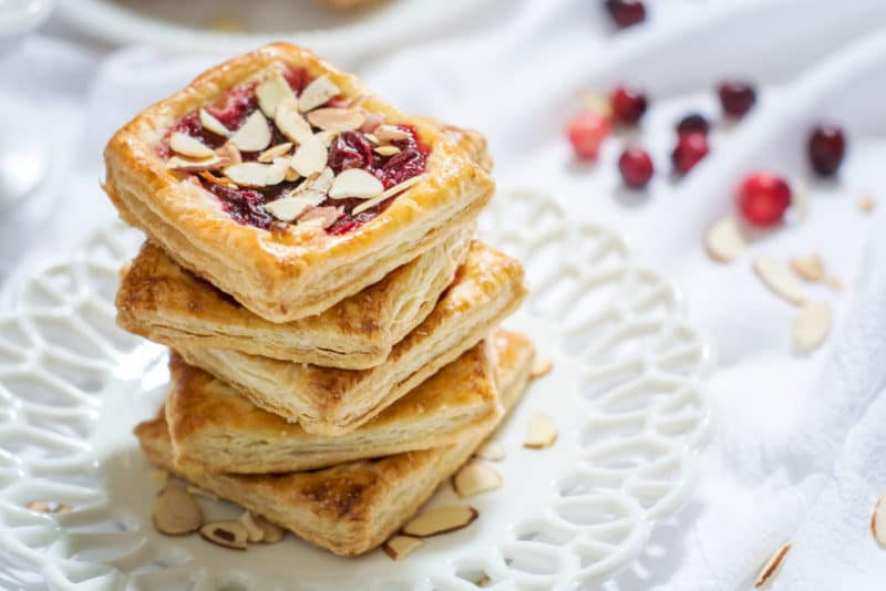 Cranberry Cream Cheese Tarts recipe, the perfect way to use up that holiday cranberry sauce! Get the recipe at Little Figgy Food