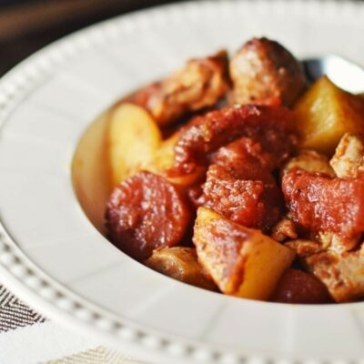 Balsamic Chicken and Sausage Bake