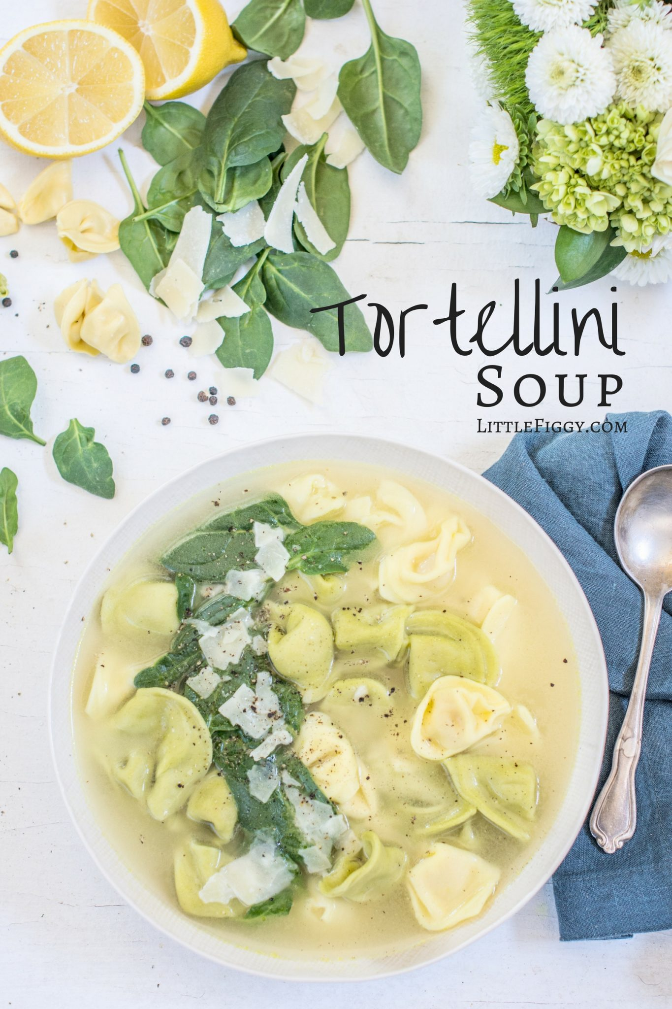 Tortellini Soup with spinach and a hint of lemon. Get the recipe at Little Figgy Food.