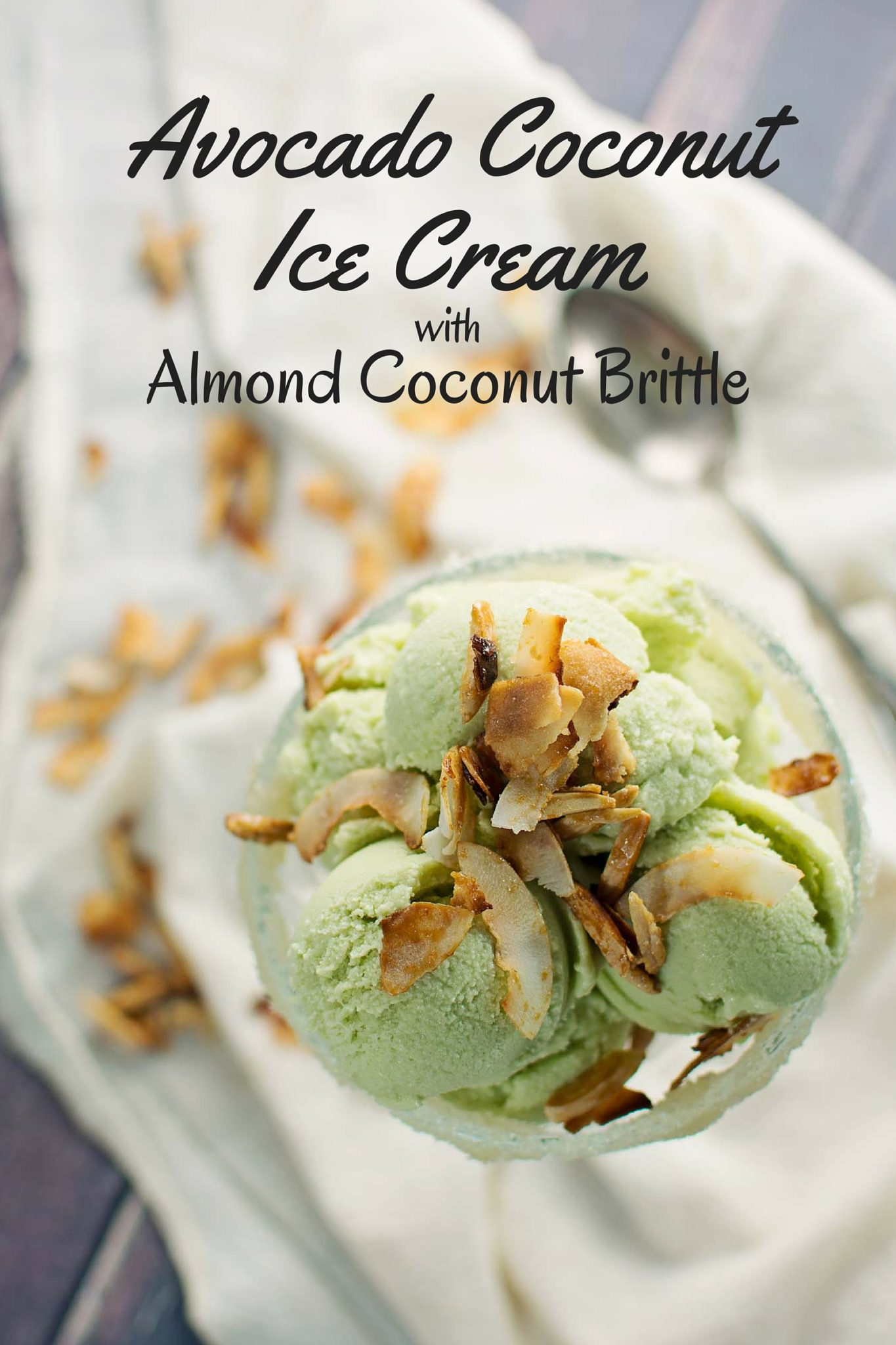 This Avocado Ice Cream has been upgraded with the addition of coconut milk and coconut almond brittle! - Recipe @LittleFiggyFood