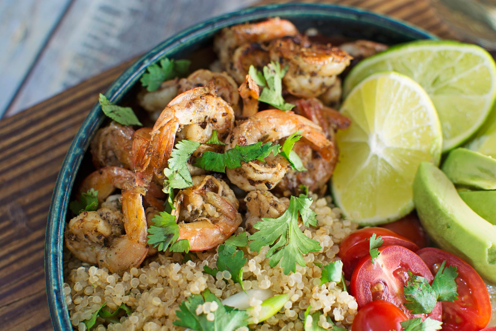 Garlic Lime Shrimp with Cilantro Quinoa Salad - Little Figgy Food