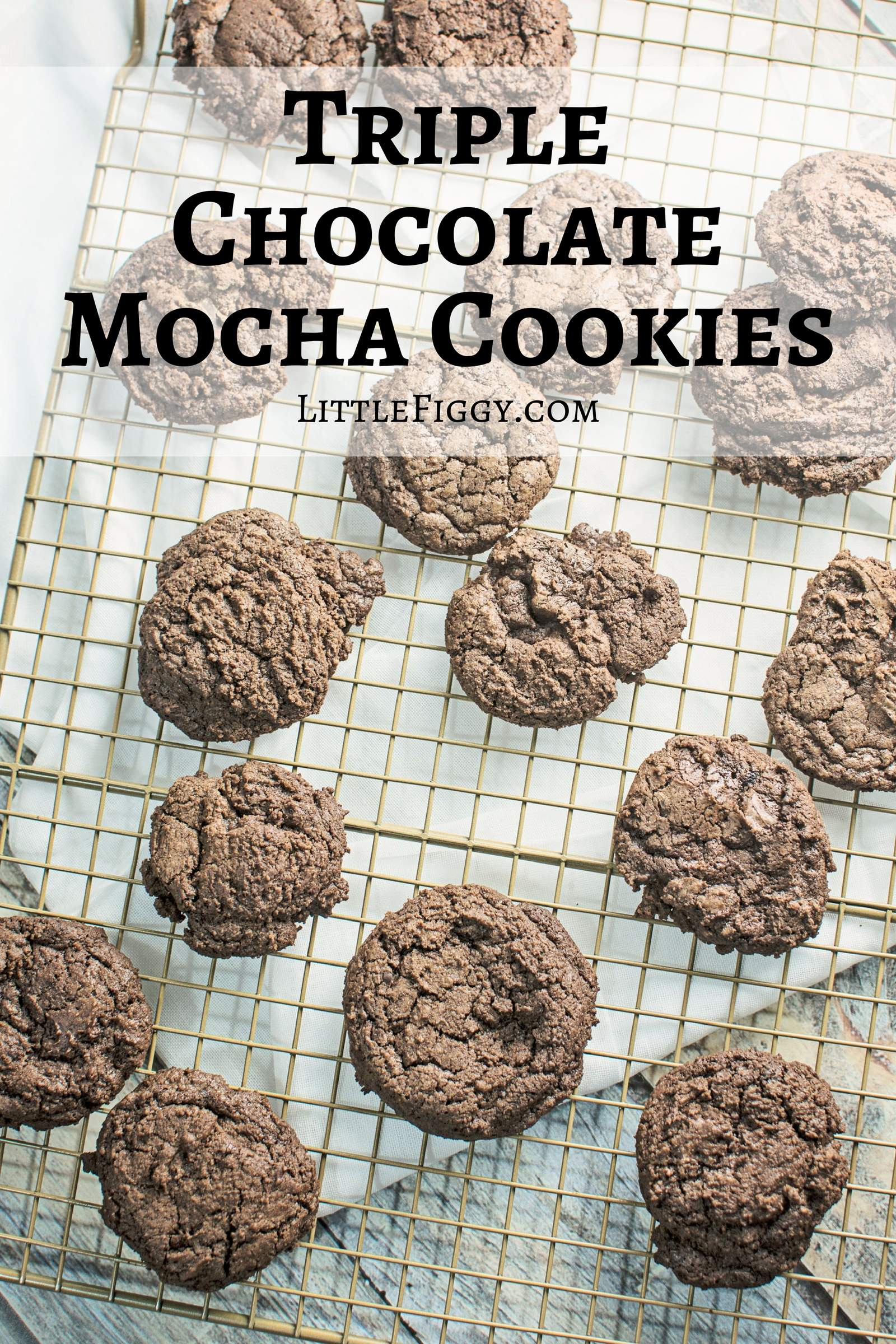Decadent Triple Chocolate Mocha Cookies are perfectly layered with chocolate and a hint of espresso! Great as a treat or even a gift from the kitchen. Recipe @LittleFiggyFood