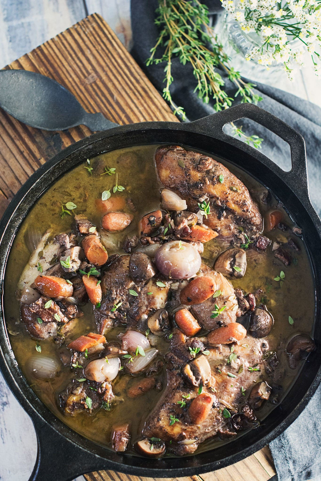 Enjoy this warming Coq au Vin, a French Chicken stew with an incredible red wine soup base! Recipe @LittleFiggyFood