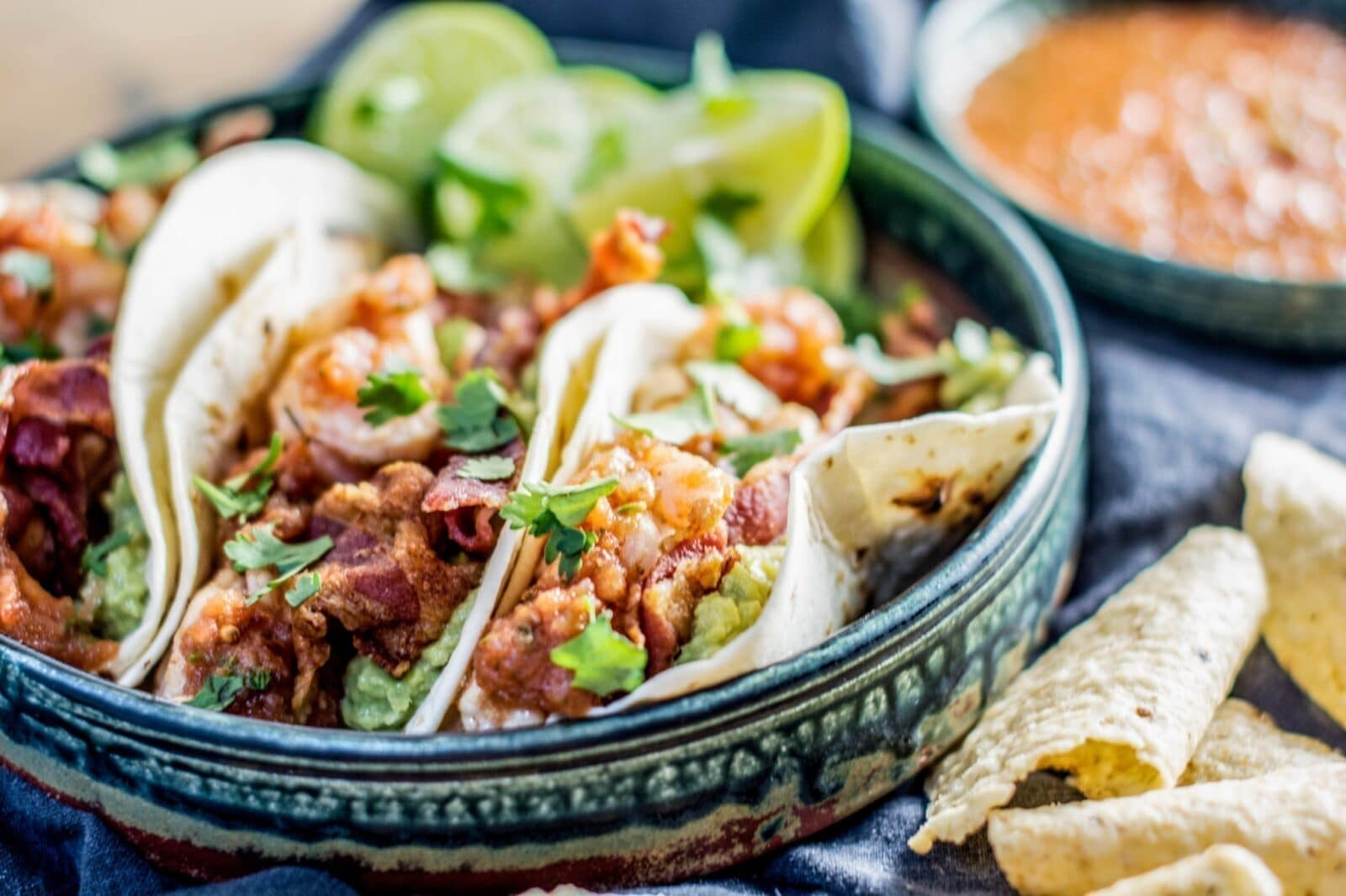 Need inspiration? Try the Roasted Chipotle Salsa served generously over these Tequila Shrimp Tacos! Recipes at Little Figgy Food