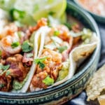 Tequila Shrimp Tacos with Bacon and Guacamole