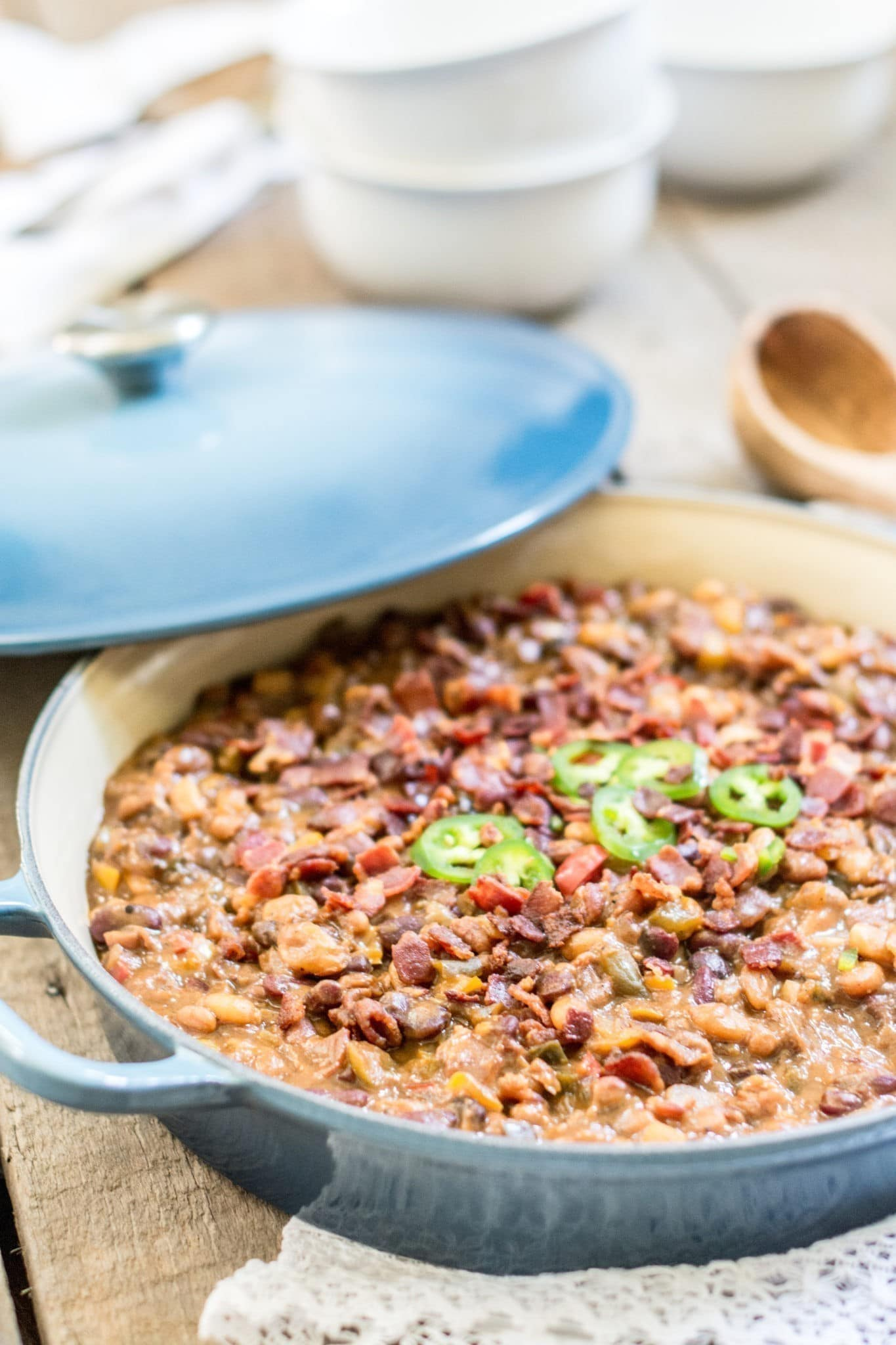 Try making up some of these Loaded and Smokin' BBQ Beans, get the recipe from Little Figgy Food.