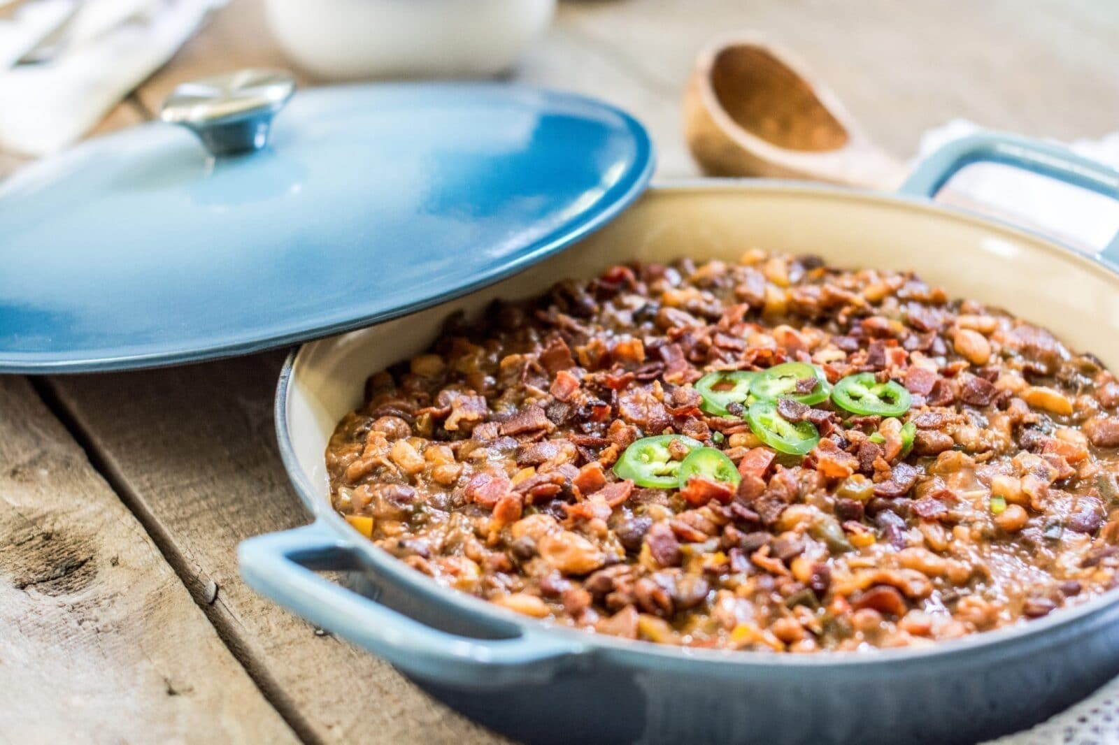 "Loaded and Smokin' BBQ Beans, made in my favorite ""does everything"" Fait Tout from @lecreuset."