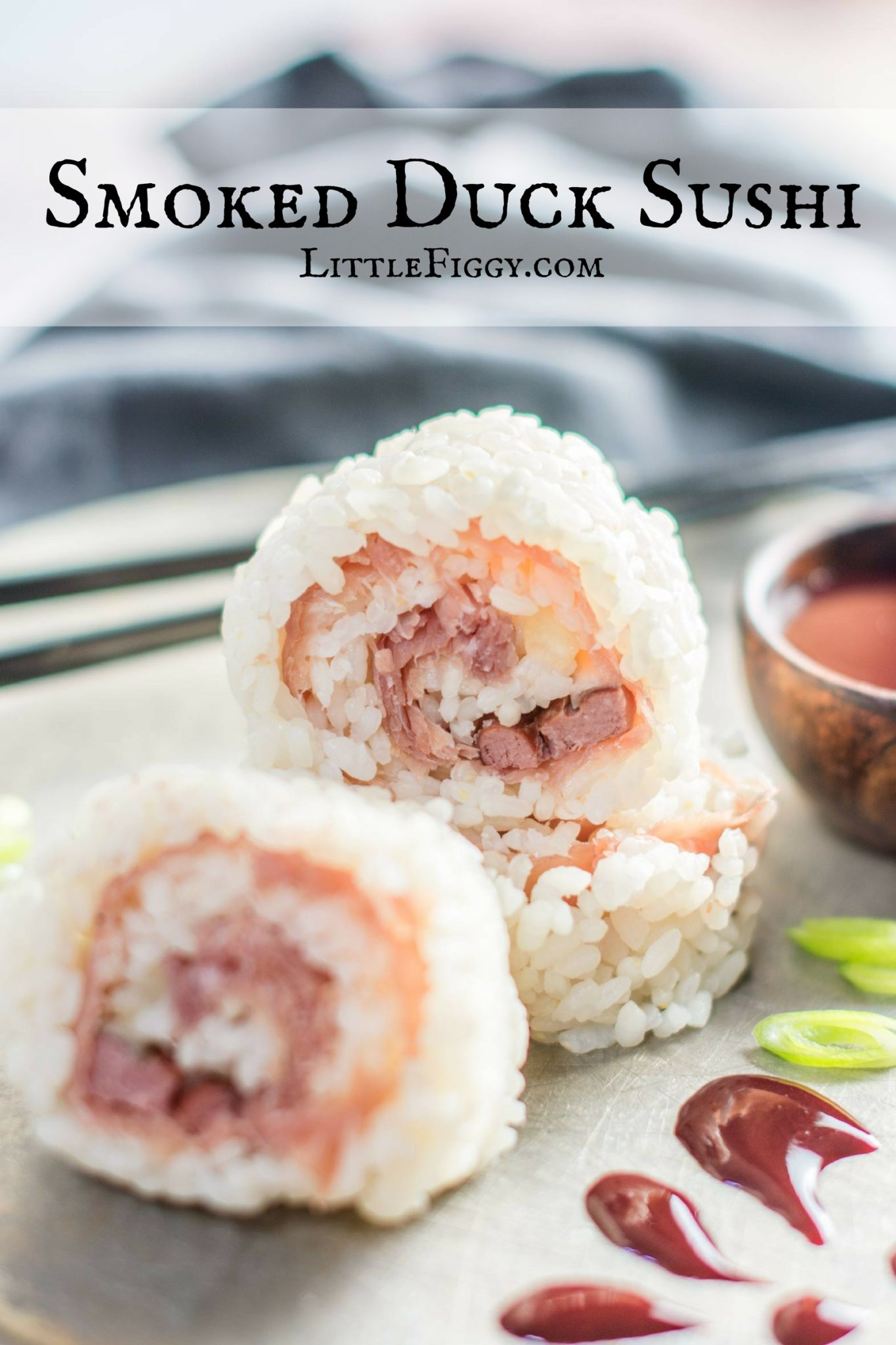 Create this delicious Smoked Duck Sushi with Blackberry Dipping Sauce Recipe, great for entertaining this summer or anytime of year! Create your own summer recipes using quality products from @3pigspate! Find this recipe at Little Figgy Food #3PigsPate #UnboreYourBoard #ad