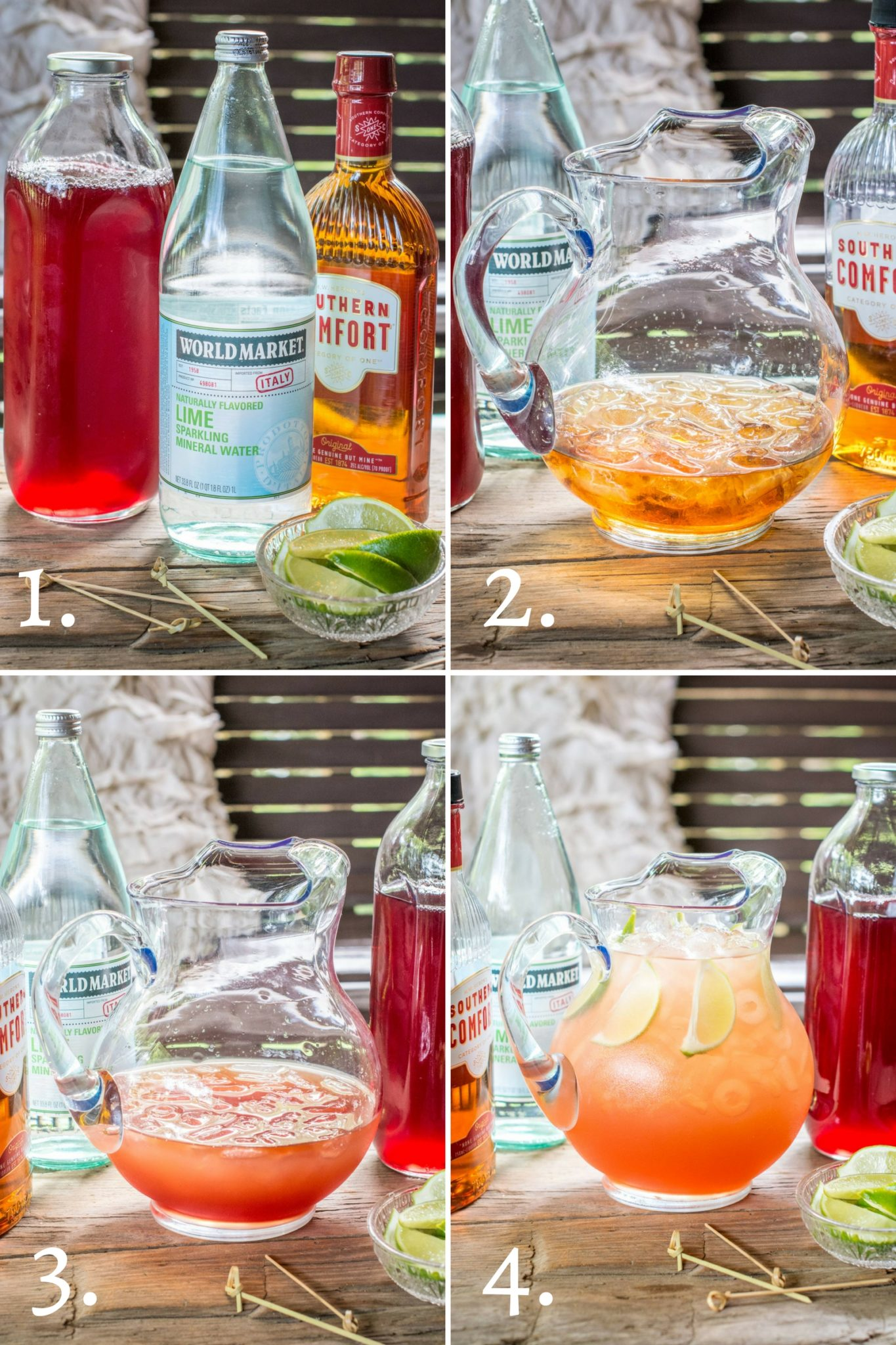 Step by step on making the Scarlet O'Hara Cocktail punch recipe.