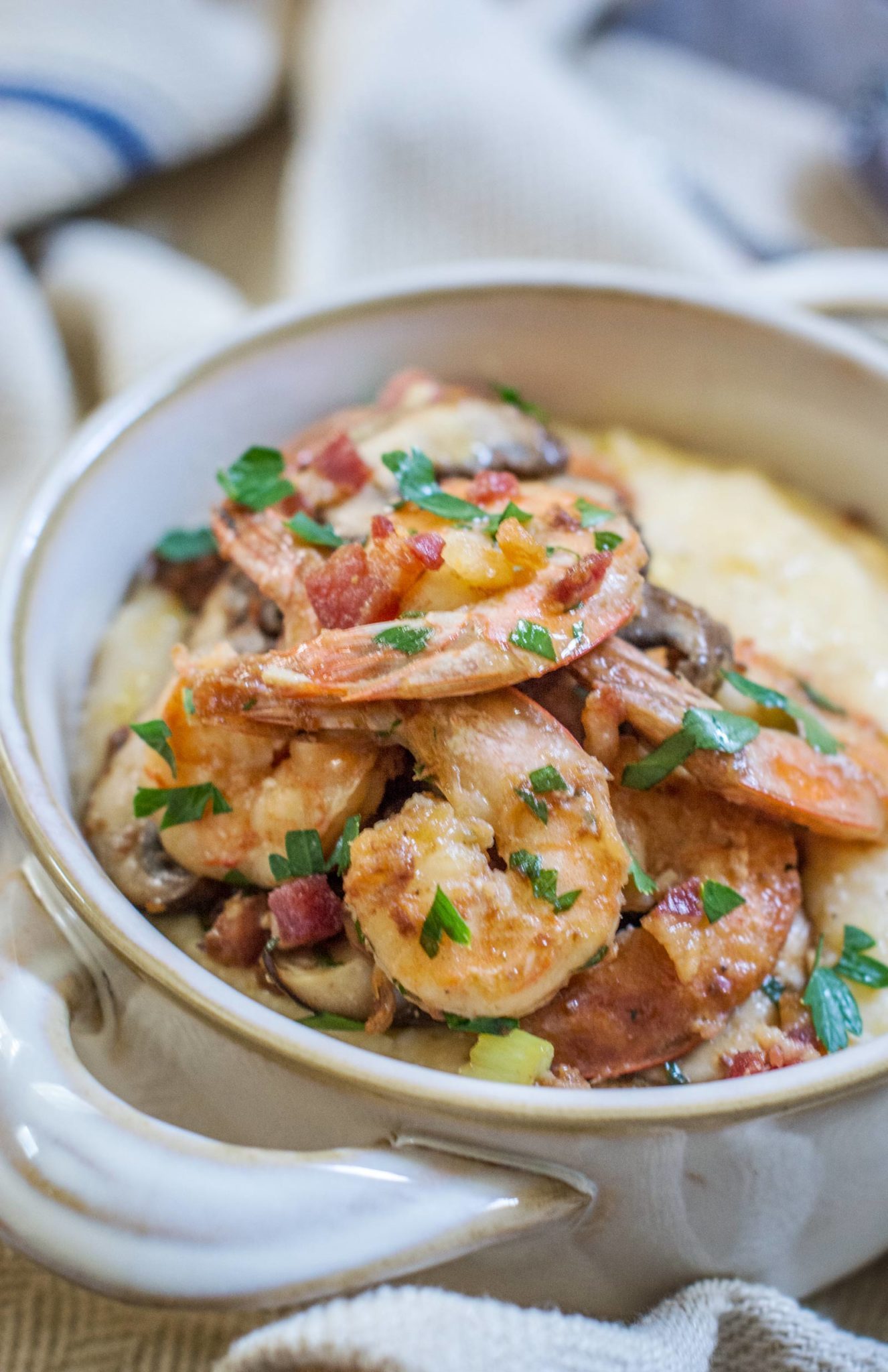 Love this easy to make, Shrimp and Grits recipe! Find the recipe at Little Figgy Food and enjoy!