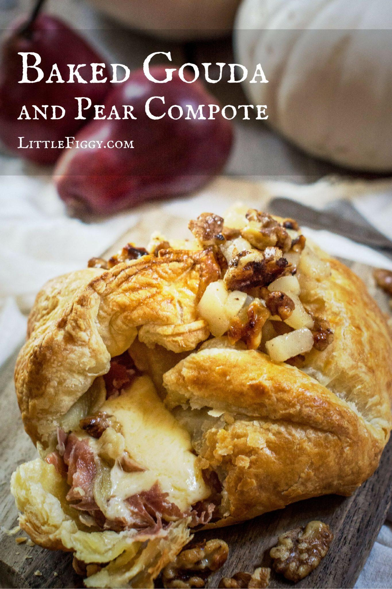 Baked Gouda and a warm Pear and Walnut Compote
