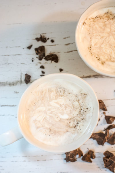 Steamy Creamy Mocha, a perfectly enticing drink to keep you cozy warm. Get the recipe at Little Figgy Food!