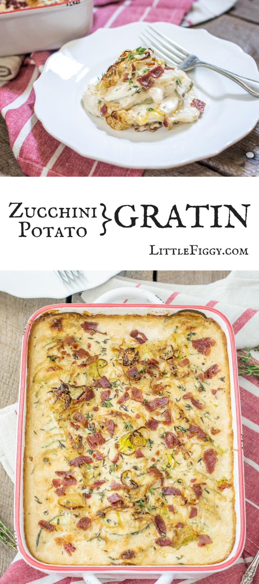 Creamy, cheesy and delish! Try this Zucchini Potato Gratin recipe, it's layered with yum and perfect as a side dish for any occasion! Get the recipe at Little Figgy Food. #ad