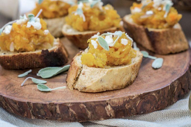 Butternut Squash and Sage Bruschetta appetizer recipe. Get the recipe at Little Figgy Food!