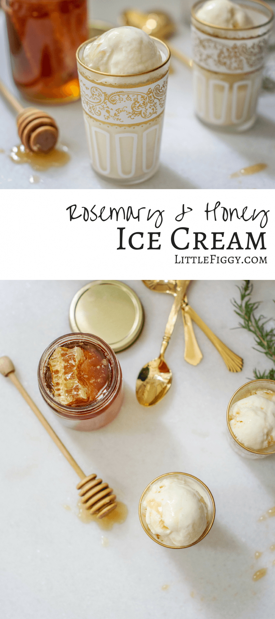 Make this simple ice cream recipe with understated flavors, Rosemary and Honey Ice Cream, so creamy and taste incredible, with light flavors that are perfectly balanced.#icecream #frozendesserts #recipe