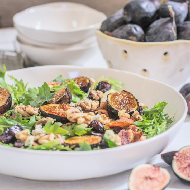 Grilled Fig Salad with a Savory Sweet Vinaigrette