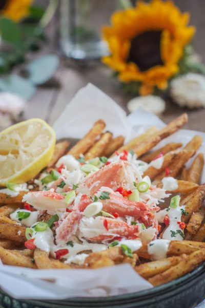 Crab Fries with garlic aioli