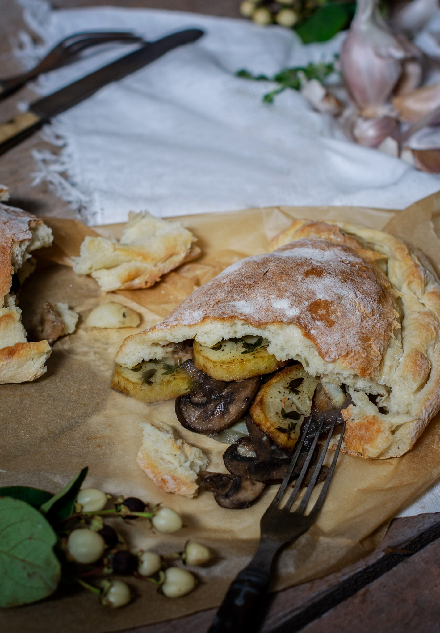 Mushrooms, Onions, Garlic, Potato Calzone Recipe ready to enjoy.