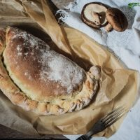 Wild Mushrooms, Roasted Garlic and Potato Calzone Recipe {Vegan}