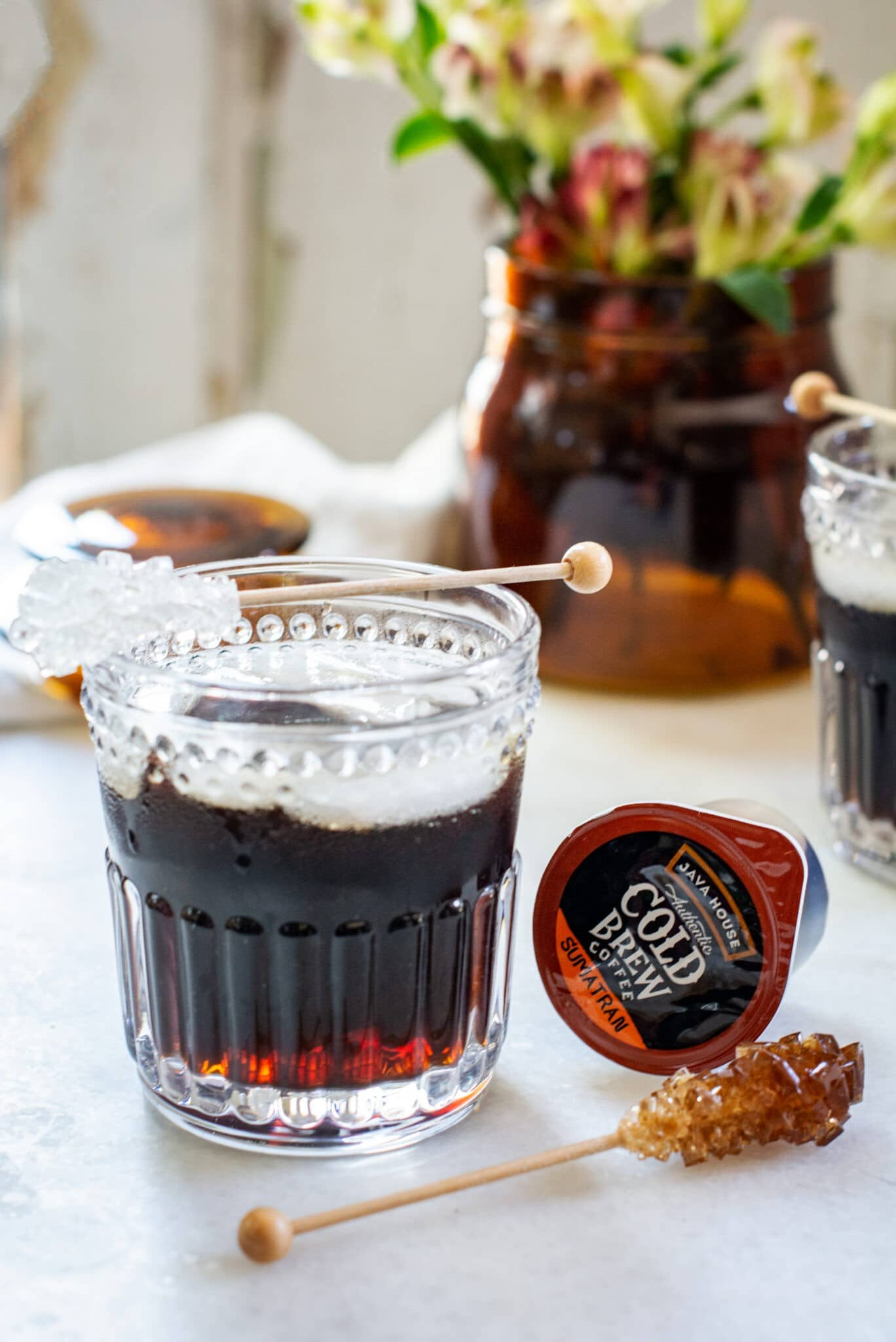 Cold Brew over ice with rock sugar