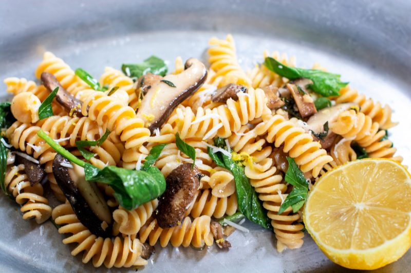 Easy gluten free pasta with simple mushroom sauce