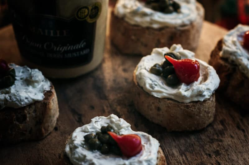 Cream Cheese Capers Dijon Bruschetta