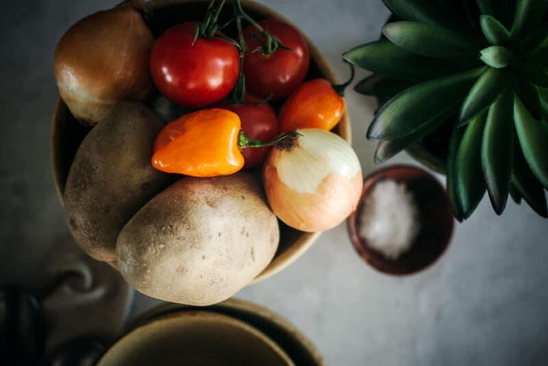 Ingredients to make a smoked turkey and potato stew